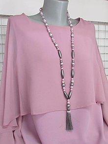 Náhrdelníky - Ružovo - sivý náhrdelník - 13663279_