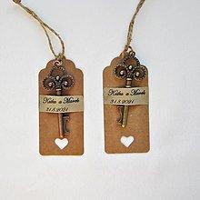 Darčeky pre svadobčanov - Svadobný kľúčik s vlastným textom. - 13665661_