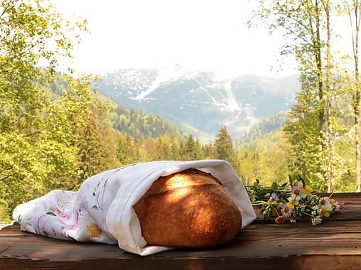 Ľanové vrecko na chlieb šípová ruža