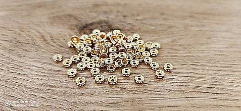 Korálky - Rondelka so štrasom  (6 mm - Zlatá) - 13666972_