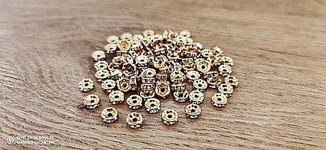 Korálky - Rondelka so štrasom  (8 mm - Zlatá) - 13666973_