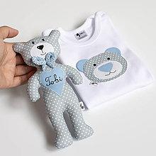 Detské oblečenie - SET MACKO  body + hračka (sivo - modrý) - 13666502_