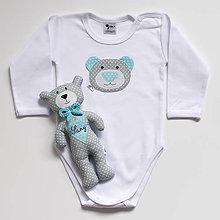 Detské oblečenie - SET MACKO  body + hračka (sivo - tyrkysový) - 13666644_