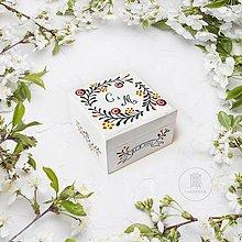 Prstene - Krabička na svadobné obrúčky (Janka + Adam) - 13667796_