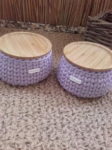 Košíky - Košík lavender s bambusovym krytom - 13666637_