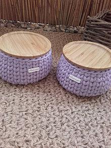Košíky - Košík lavender s bambusovym krytom (Kosik priemer 15 cm a výška 9cm) - 13666640_