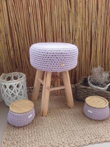 Košíky - Košík lavender s bambusovym krytom (Taburetka levandulova) - 13666646_