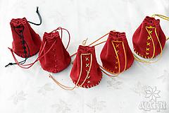 Peňaženky - Kožený mešec červený - 13668034_