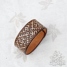 Náramky - Kožený náramok Výšivka - 13669624_