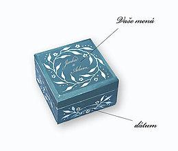 Prstene - Krabička na svadobné obrúčky (Tyrkysová) - 13669900_