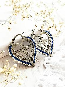 Náušnice - Hej Goraľu | Cifrované srdcia (Modrá) - 13668914_