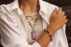 Sady šperkov - Súprava náhrdelníku a náramku - purple - 13668177_