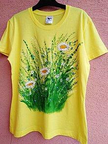 Tričká - Tri margarétky - maľované tričko - 13672792_