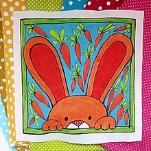 Textil - Bavlnený panel UŠI SI SÁM - Zvieratko z dvora (zajačik) - 13671998_