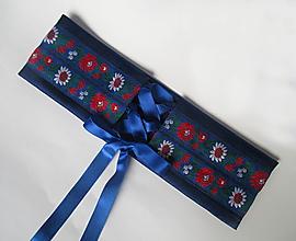 Opasky - korzetový dámsky opasok modrý - 13671596_