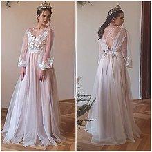 Šaty - Svadobné šaty v páse na gumičku, dlhý tylový rukáv, telové podšitie na ramienka - 13672414_