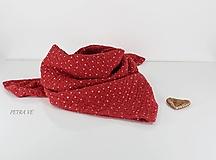 Šatky - Červené bodky - mušelínová šatka, malá - 13671346_