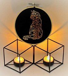 """Dekorácie - Vyšívaný obrázok """"Zlatá mačka"""" - 13673271_"""