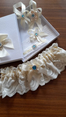 Bielizeň/Plavky - Svadobný podväzok Ivory - blue - 13670731_