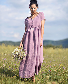 Šaty - Lněné maxišaty se zapínáním Mauve - 13671407_