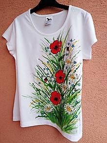 Tričká - Maky a margarétky - maľované tričko - 13674706_