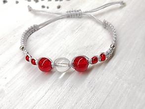 Náramky - Náramok červený s krištáľom - 13676008_