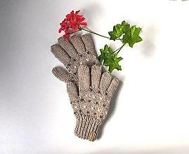Detské doplnky - Prstové béžové rukavice - 13675005_