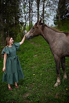 Šaty - Ľanové šaty s volánom-ŠARLOTA - 13675739_