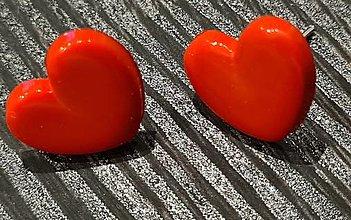 Náušnice - Náušnice červené srdiečka - 13674373_