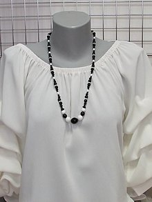 Náhrdelníky - Čierno - biely náhrdelník - 13674007_
