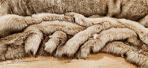 Textil - Kožušina umelá - béžovo - hnedý melír - cena za 10 cm - 13678330_