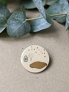 Brošne - keramická brošňa Voda (dom pri jazere) - 13678018_