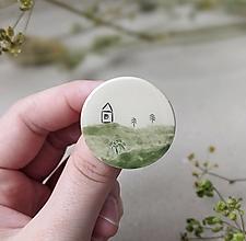 Brošne - keramická brošňa Výhľady (Výhľad pri potoku) - 13678186_