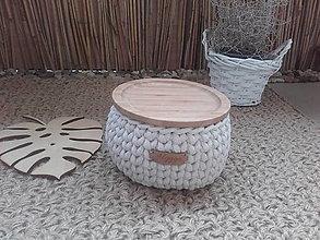 Košíky - Košík prírodný s bambusovym krytom - 13677087_