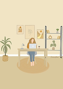 """Grafika - Ilustrácia"""" Home Office"""" - 13677746_"""
