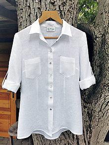 Košele - Ľanová blúzka košeľová - biela - 13676899_