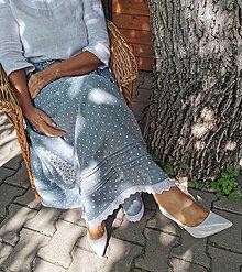 Sukne - Dlhá ľanová sukňa s madeirou a záplatami - 13676972_