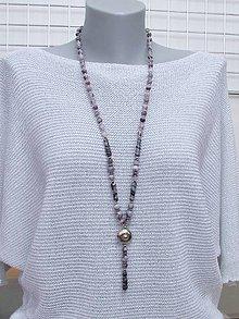 Náhrdelníky - Šedo - fialový náhrdelník - 13677995_