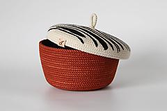 Košíky - Provazový košík rezavý s pokličkou - 13679012_