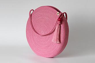 Kabelky - Provazová kabelka kulatá růžová - 13679054_