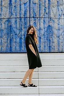 Šaty - Šaty Black Linen Shirts LONG - 13679829_