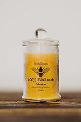 Svietidlá a sviečky - Sviečka zo 100% včelieho vosku v skle - Škorica - 13681702_