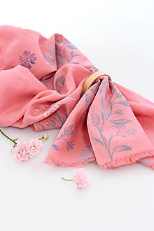 """Šatky - Ručne potlačená ružová šatka z ľanu """"Clementina"""" - 13681250_"""