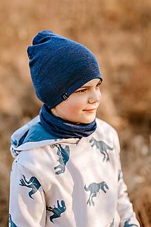 Detské čiapky - 100% merino set - denim modrá - 13681947_