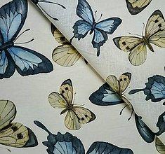 Textil - 100% ľan 150 g Motýle (ako materiál alebo šitie na želanie) - 13679984_