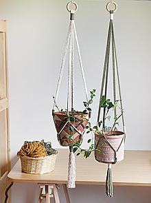 """Nádoby - Držiaky na kvetináče """"Autumn"""" set (olivová, natural biela) - 13684994_"""