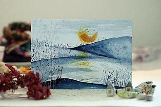 Grafika - Modrá krajina/ print - 13684612_