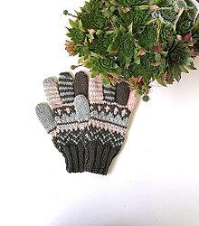 Detské doplnky - Detské prstové rukavice vojenská zelená s marhulovou - 13685382_