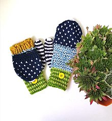 Rukavice - Odklápacie rukavice farebné - 13685384_