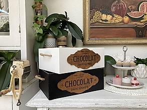 """Nádoby - """"Stará bednička so štítkom Chocolat """" - 13683671_"""